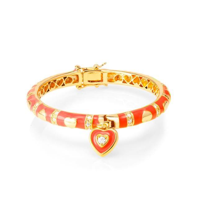 18KGP Enameled Hearts With Cubic Zirconia Children's Bangle Bracelets- 5 Colors  (45mm)