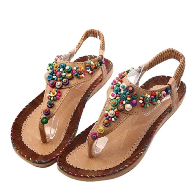 Women's T-Strap Bohemian Beaded Sandals