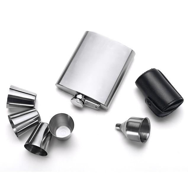 Eravino Stainless Steel 7 oz. Liquor Flask Set