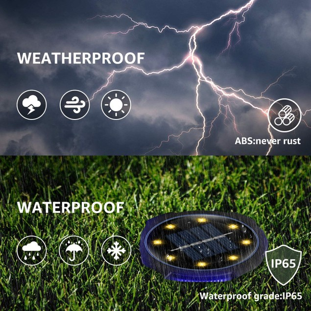 Solar Powered Waterproof In-Ground LED Disk Light (8-Pack)
