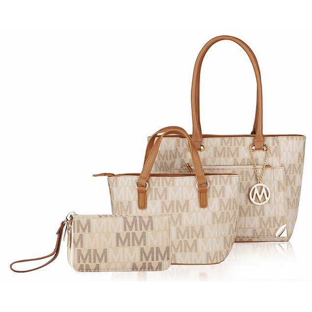 MKF Collection Lady M Signature Tote set (Tote-Mini Tote-Wallet)