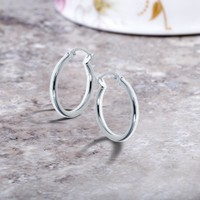Solid Sterling Silver 25mm Classic French Lock Hoops