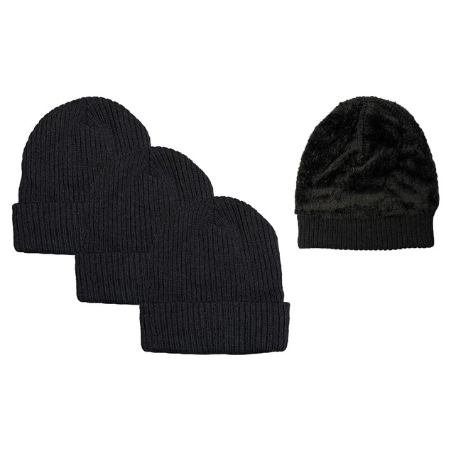 3-Pack Unisex Black Sherpa Fleece-Lined Ribbed Beanie Hat