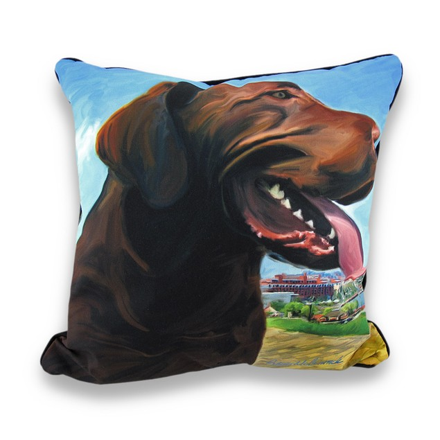 View From The Hill Chocolate Lab Dog Decorative Throw Pillows