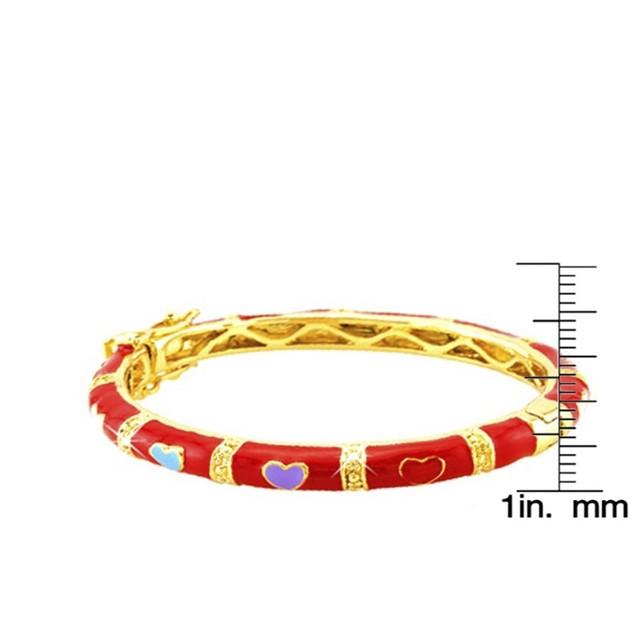 18KGP Red Heart Shape Enameled Children's Bangle Bracelets