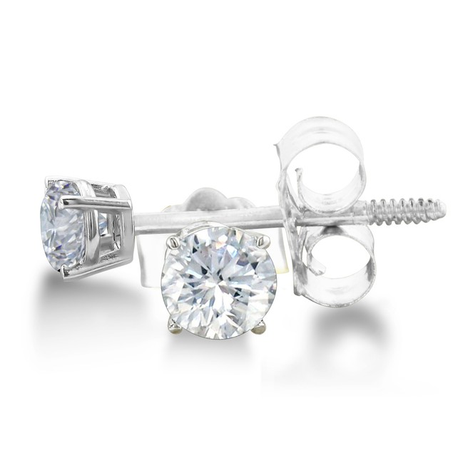 14k White Gold 1/3 Carat Genuine Diamond Stud Earrings