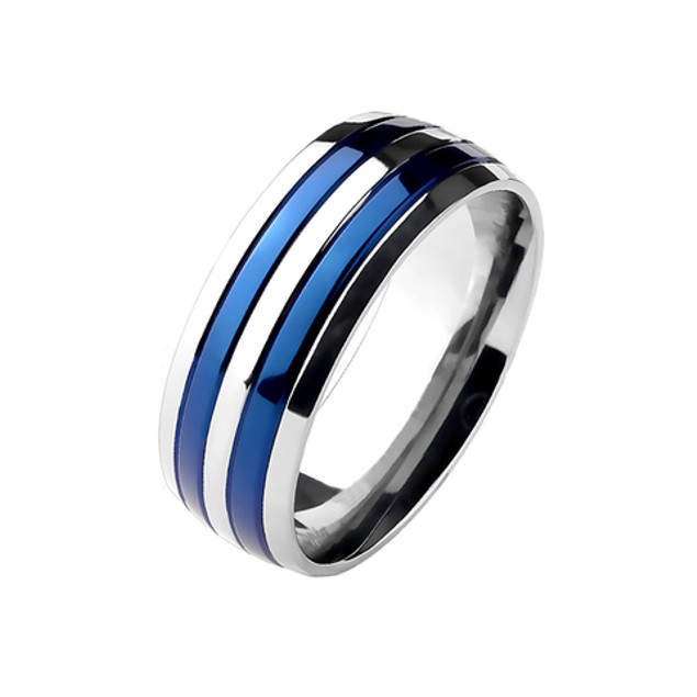 Double Striped Blue IP Band Ring Solid Titanium
