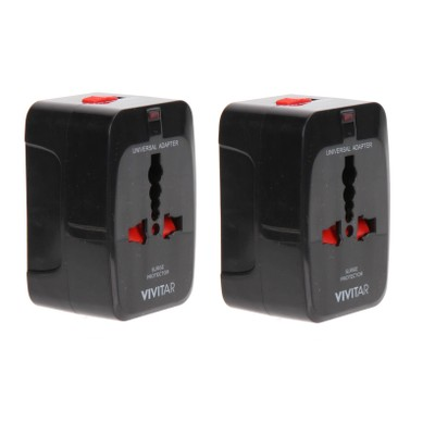 2 Pack Vivitar Worldwide Travel Adapter w/ Surge Protection