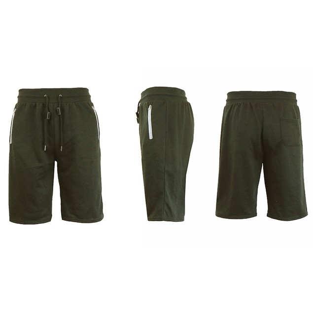 Men's Marled & Solid French Terry Shorts With Zipper Pockets