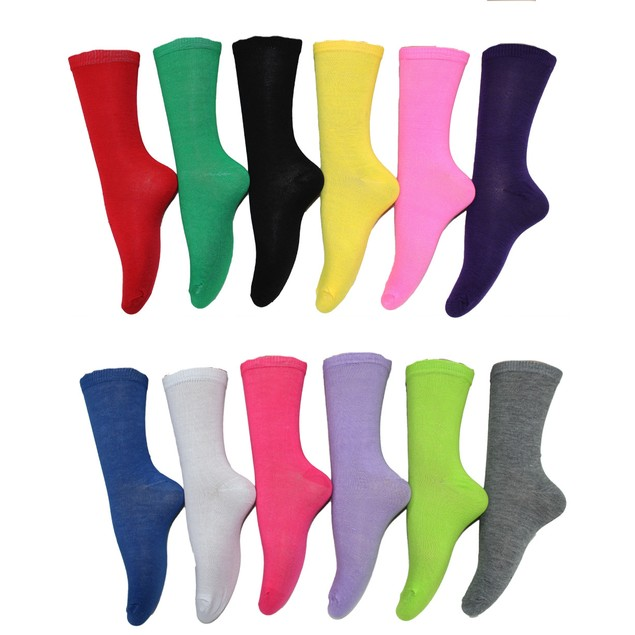 12 Pairs: Frenchic Women's Cotton-Blend Solid Crew Socks