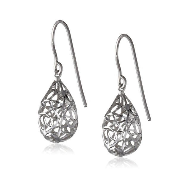 White Gold Plated Wire Drop Earrings