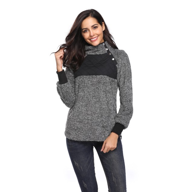 Asymmetrical Snap Fleece Pullover