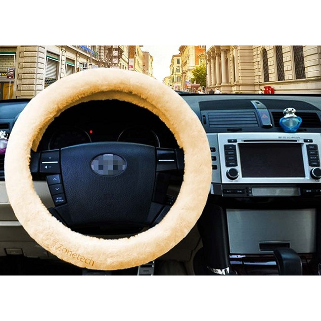 Zone Tech Car Decoration Plush Beige Thermal Steering Wheel Cover