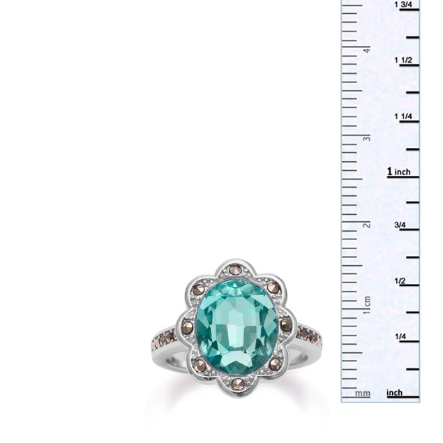 4ct Oval Shape Crystal Aquamarine and Marcasite Halo Ring