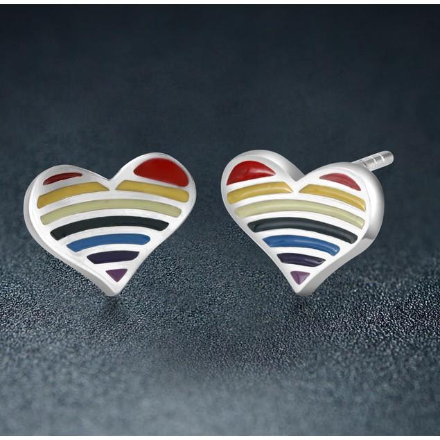 Sterling Silver Heart Striped Stud Earrings