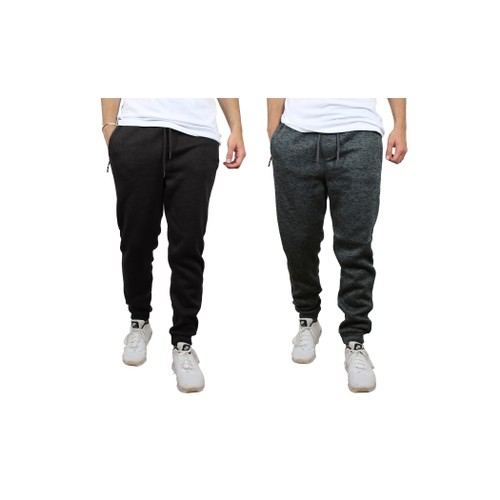2-Pack Men's Slim-Fit Marled Fleece Joggers With Zipper (S to 2XL)