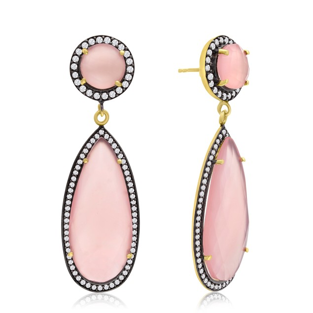 14k Yellow Gold 64ct Pear Shape Rose Quartz and CZ Halo Dangle Earrings