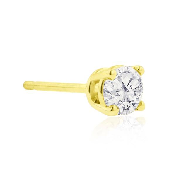 10k Yellow Gold 1/4 Carat Genuine Diamond Stud Earrings
