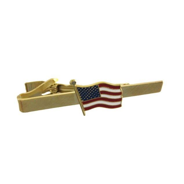 Gold Plated American Flag Tie Bar Clip Business Mens Tie Pins