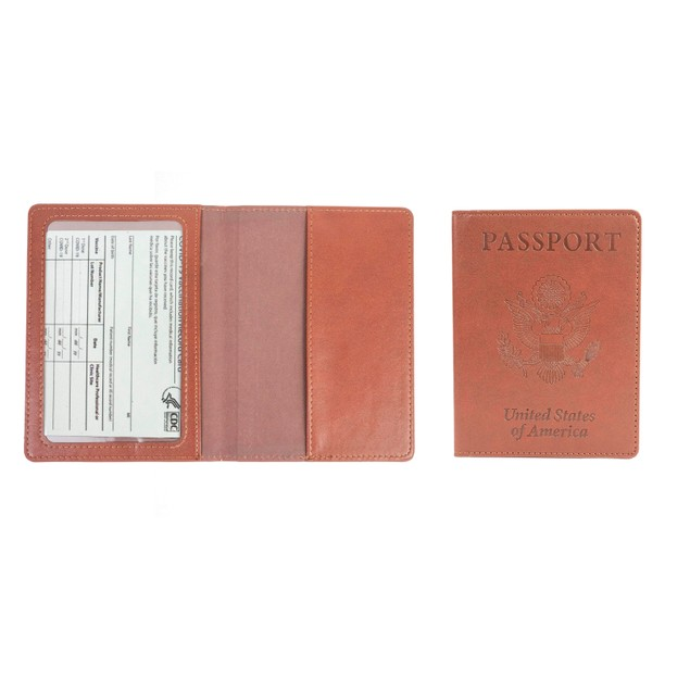 Passport Holder with CDC Vaccination Card Protector - 8 Colors