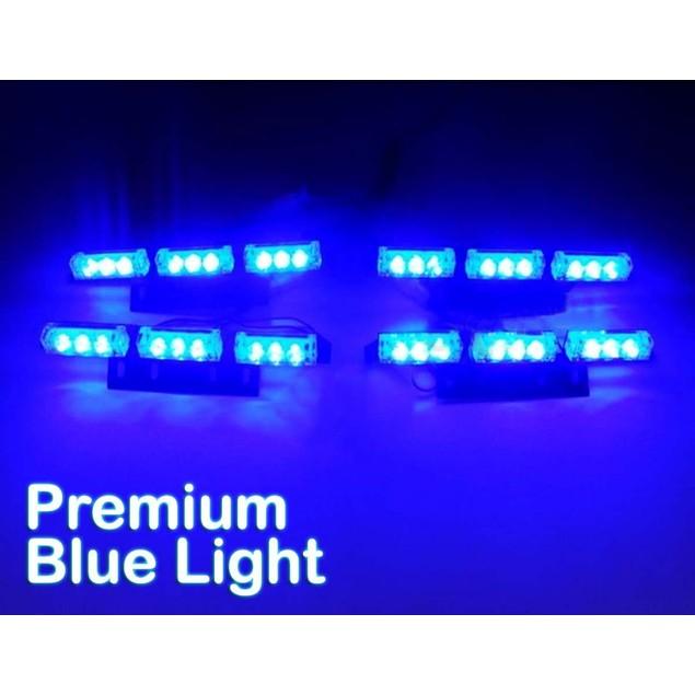 Zone Tech 36 LED Emergency Warning Strobe Lights Blue Windshield Grille