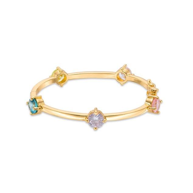 18KGP Multi Colors Heart Shape Stones Children's Bangle Bracelet-(45mm)