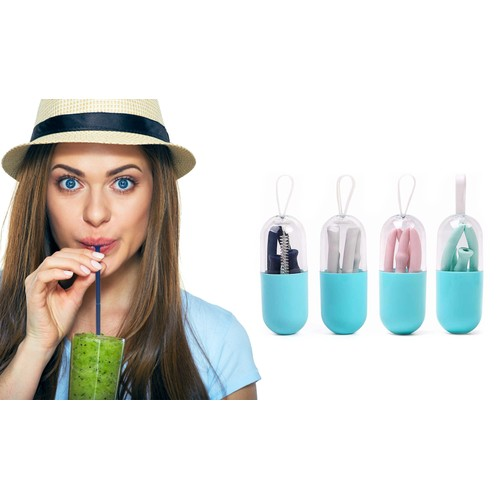 Foldable and Reusable Silicone Drinking Straw with Case