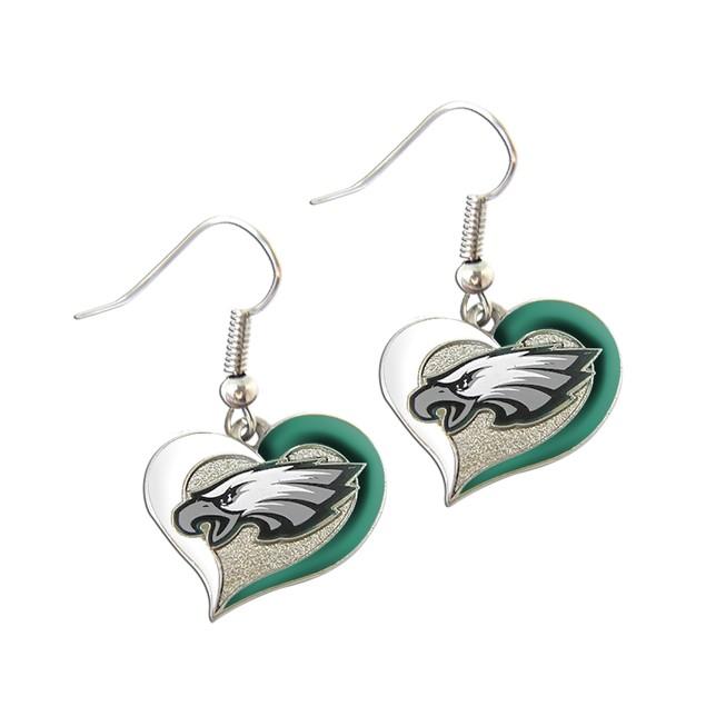 "NFL Sports Team Logo 3/4"" Swirl Heart Dangle Earring Set"