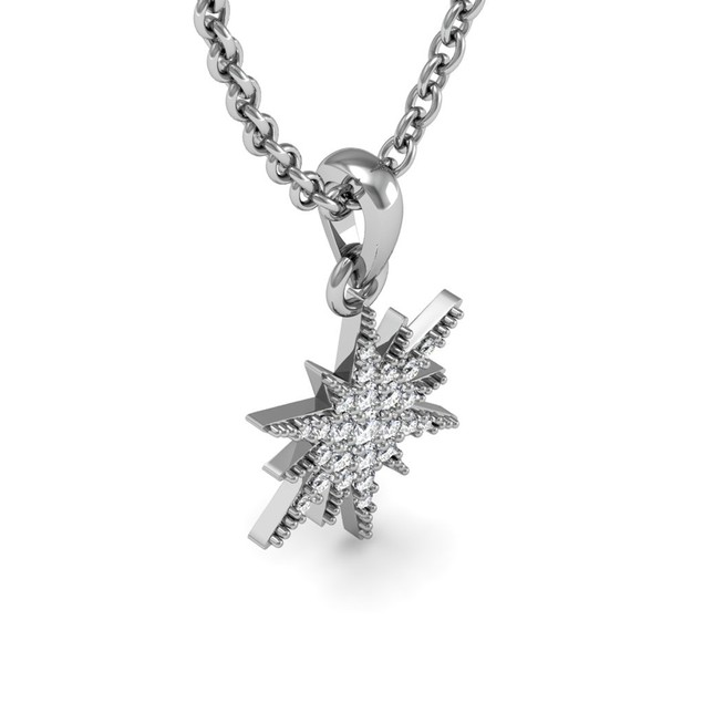 Sterling Silver 1/4 Carat Diamond Starburst Necklace