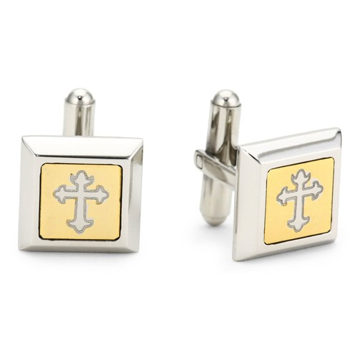 Genuine Stainless Steel Men's Cuff-links With Gothic Cross Center Design
