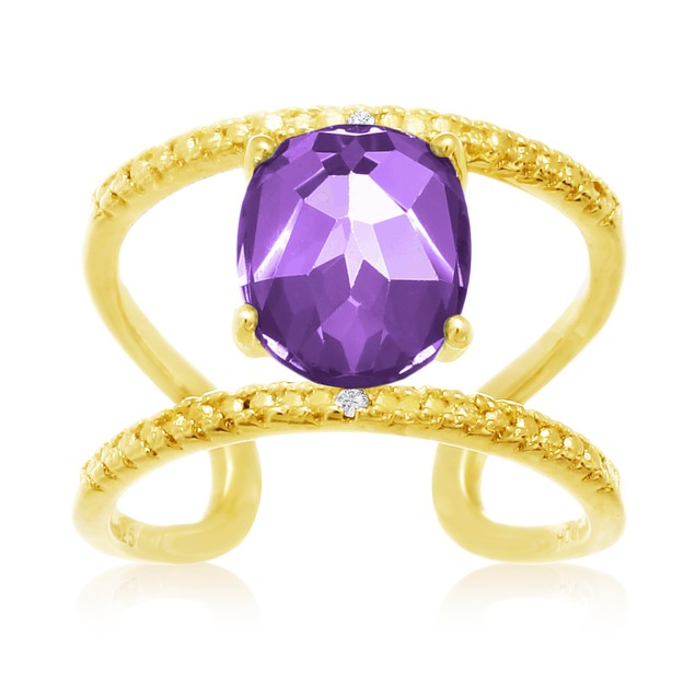 Amethyst and Diamond Open Shank Ring