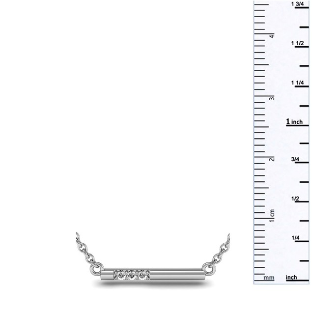 Sterling Silver 0.06ct Diamond Bar Necklace