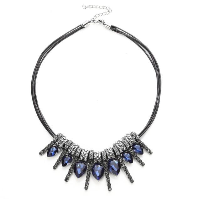 Aqua Drop Crystal Bar Statement Necklace