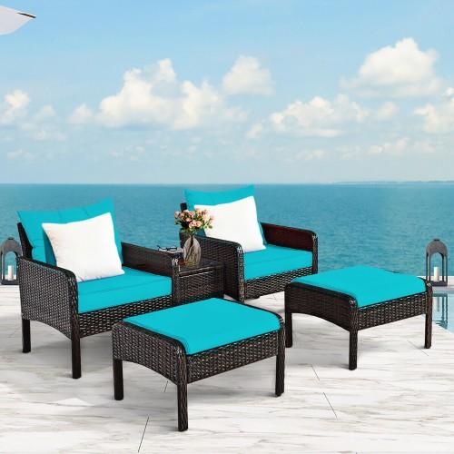 Costway 5 PCS Patio Rattan Furniture Set Sofa