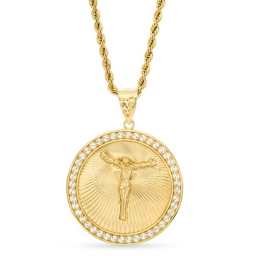 "Roberto Martinez Crucifix Medallion Pendant Bronze w/ 14K Gold Plate - 24"""