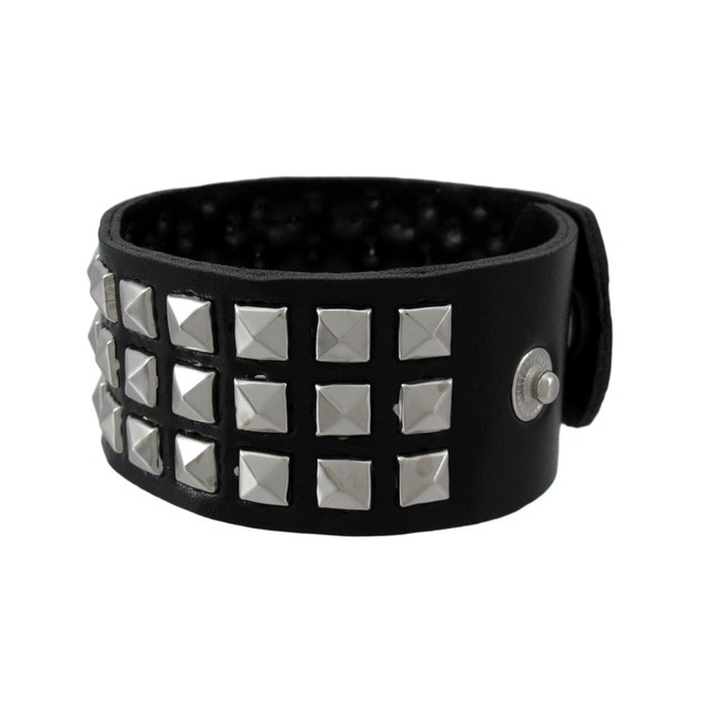 Black Vinyl Wristband With Chrome Pyramid Studs Mens Cuff Bracelets
