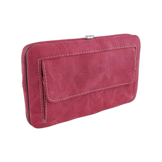 Hot Pink And Black Rhinestone Fleur De Lis Flat Womens Wallets