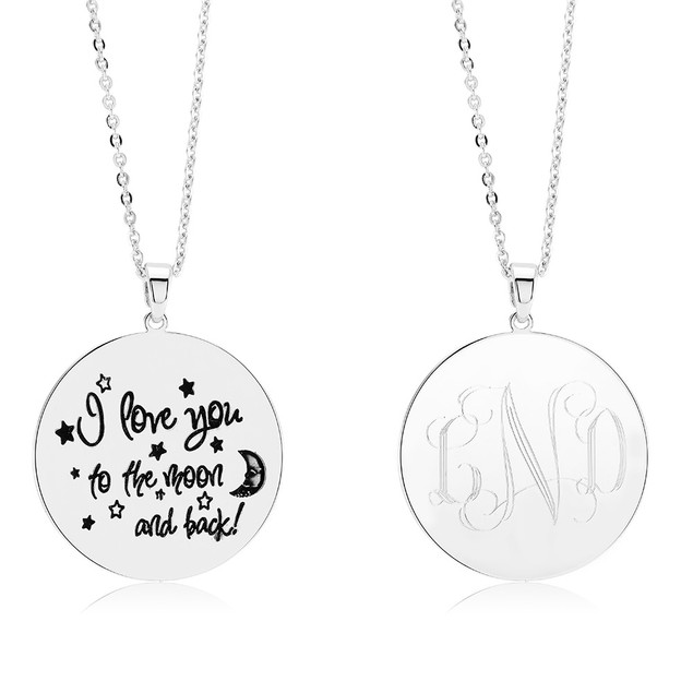 "Monogrammed ""I Love You to the Moon and Back"" Necklace"