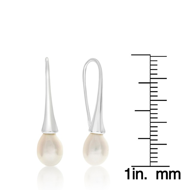 8mm Freshwater Cultured Pearl Drop Earrings In Silver