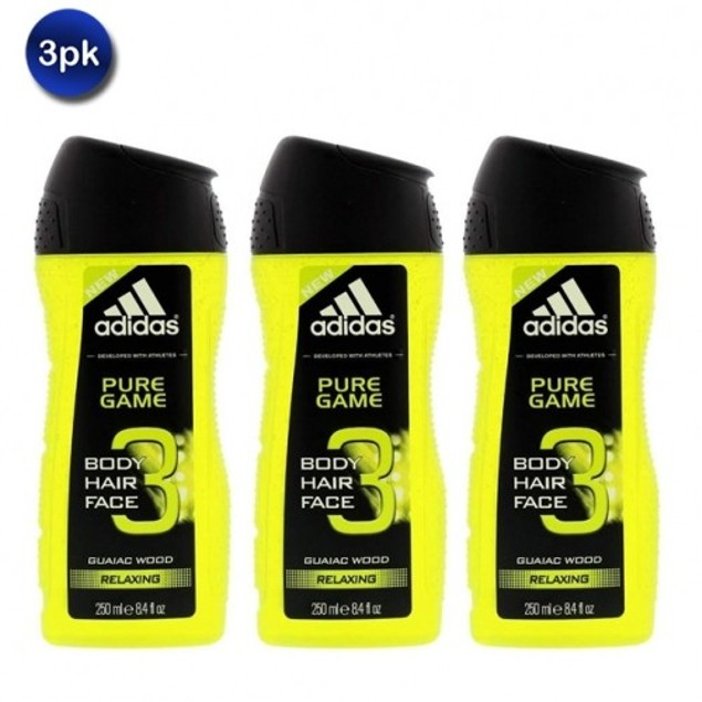 3 Pack: Adidas Pure Game 3-in-1 Relaxing Shower Gel, Shampoo & Face Wash