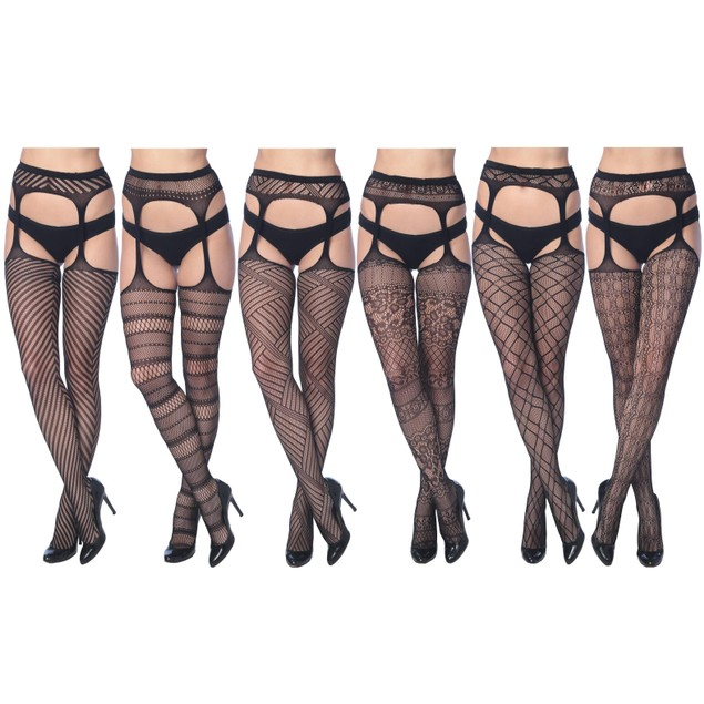 3-Pack: Women's Fishnet Suspenders In Regular and Plus Sizes