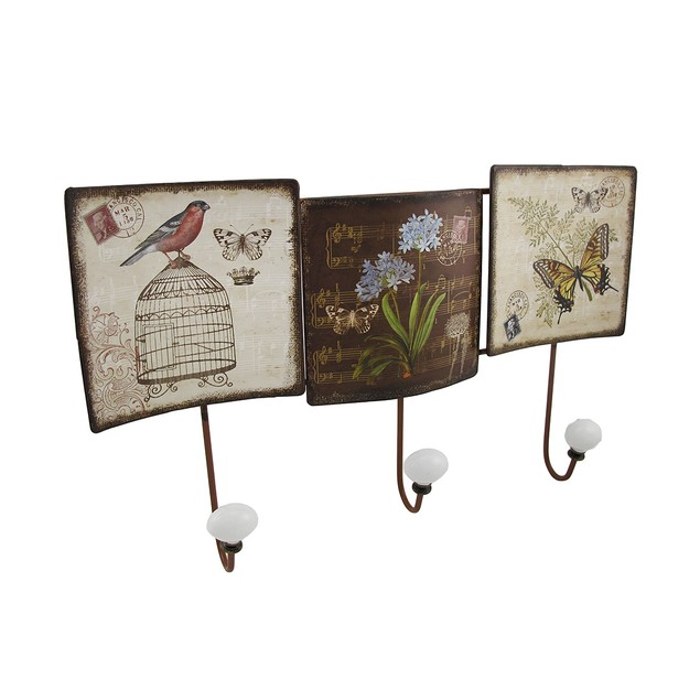 Antique Sheet Music Postcard Themed Metal Coat Wall Hooks