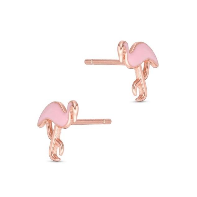 14K Rose Gold Plated Pink Enamel Flamingo Shape Children's Post Earrings