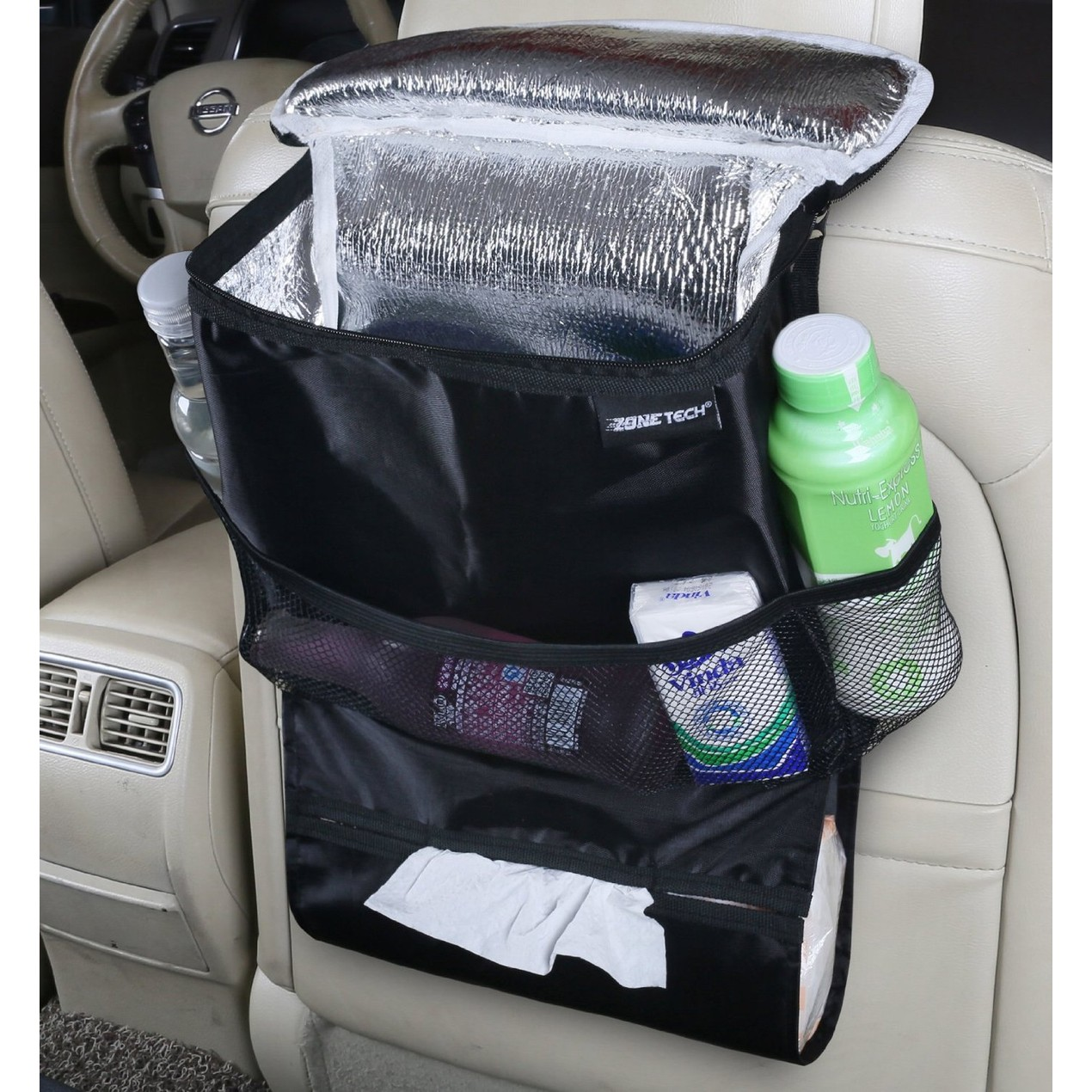 Zone Tech Travel Back Seat Organizer Insulated Food Drink Thermos Car Cooler Bag