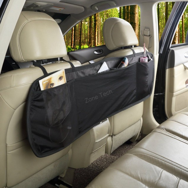 Zone Tech Compact Collapsible Interior Black Backseat Car Storage Organizer