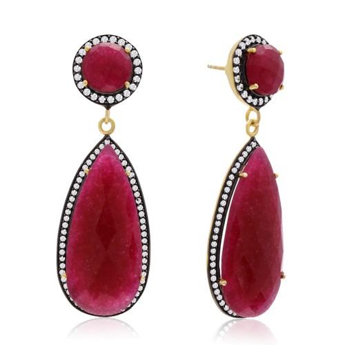 14k Yellow Gold 64 Carat Pear Shape Ruby and CZ Halo Dangle Earrings