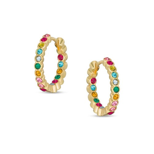 18K Yellow Gold Plated Multi Colored C.Z Stones Children's Huggie Earrings