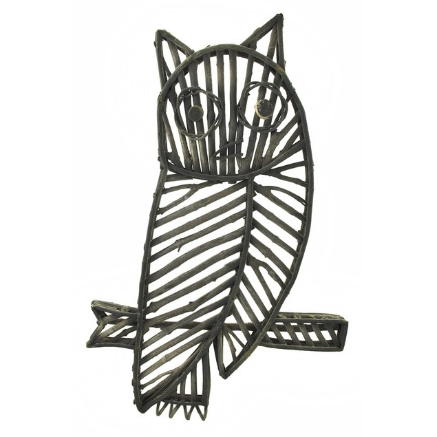 White Washed Wooden Stick Owl Wall Hanging Wall Sculptures
