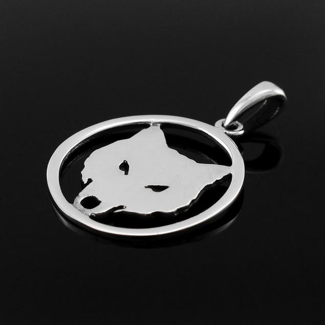 Sterling Silver Cutout Wolf Head Pendant Individual Pendants
