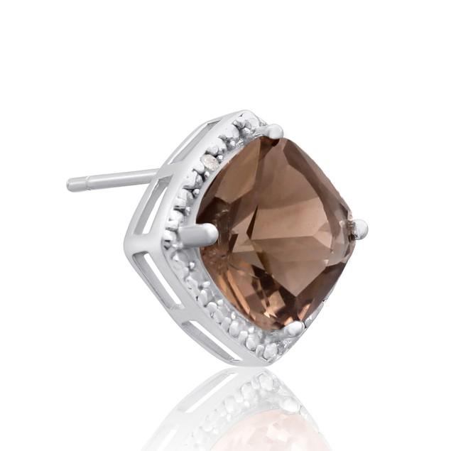 Sterling Silver 3 3/4 Carat Cushion Cut Smoky Quartz and Diamond Earrings